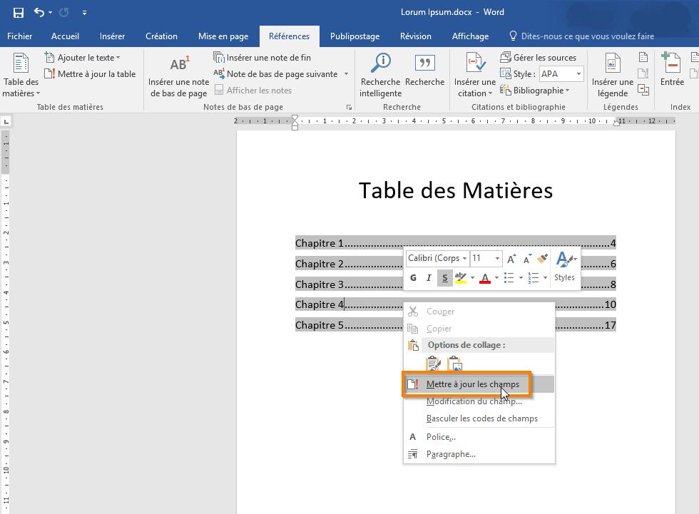 Créer une table des matières dans Microsoft Word 365