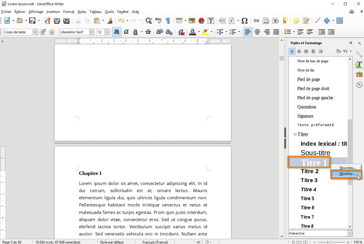 Créer une table des matières dans Libre Office