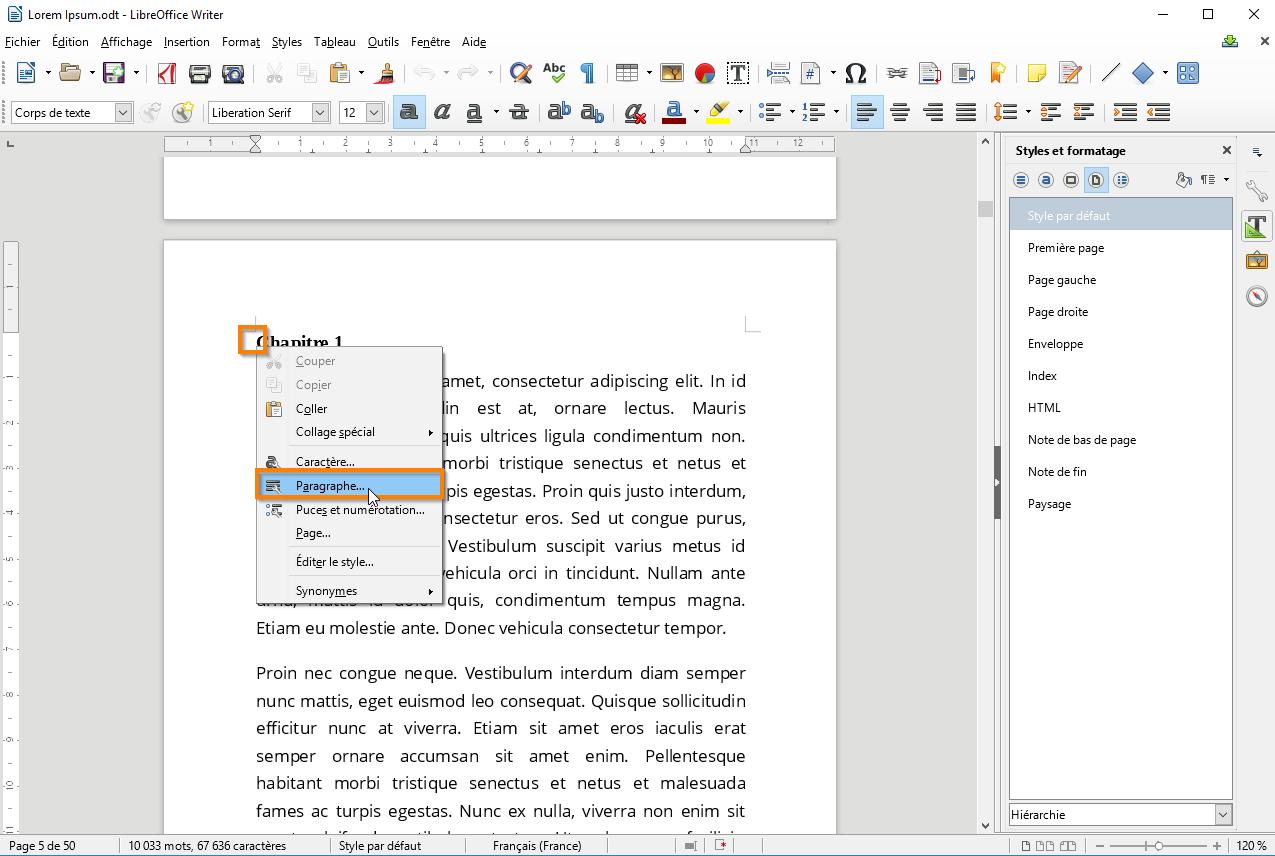 Utiliser des sections dans Libre Office