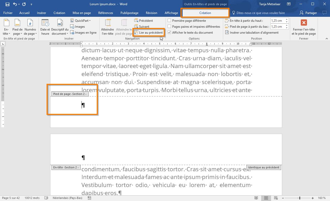 Utiliser des sections dans Office 365