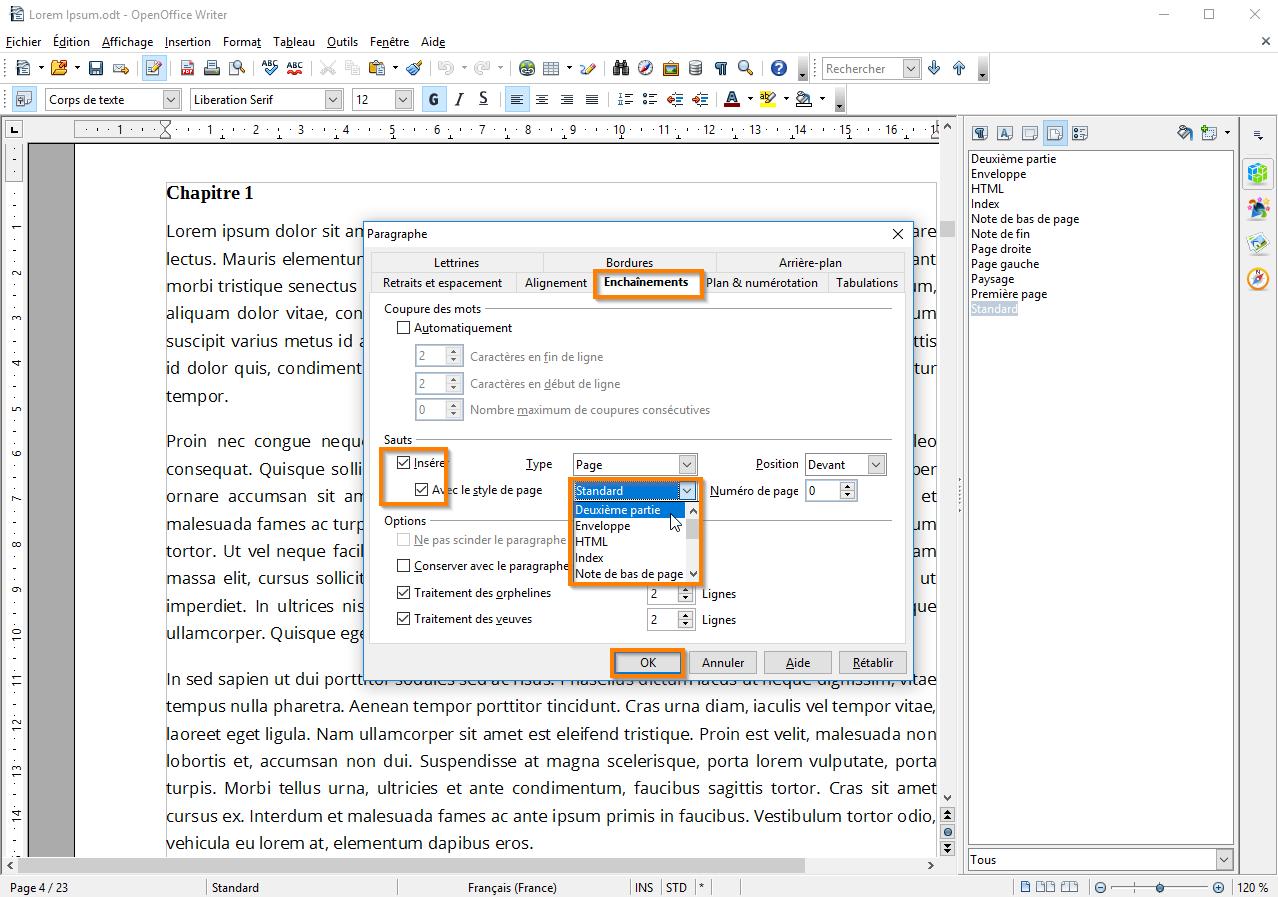 Utiliser des sections dans Open Office