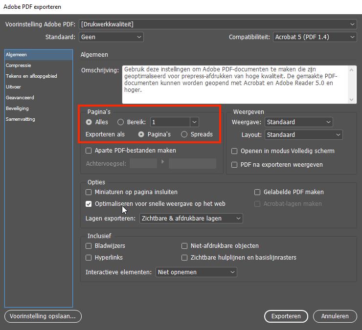 PDF exporteren als spreads vanuit Adobe Indesign